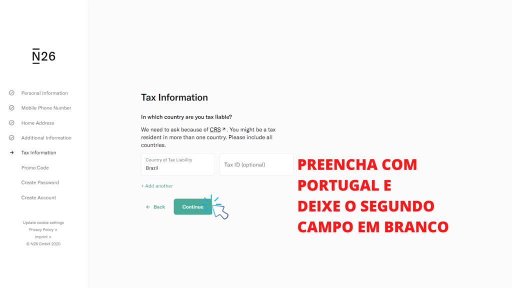 tela mostrando o passo 10 de como abrir conta no banco n26 portugal