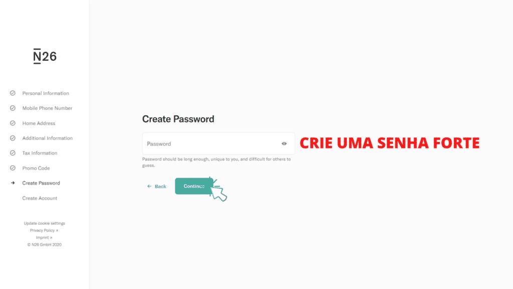 tela mostrando o passo 13 de como abrir conta no banco n26 portugal