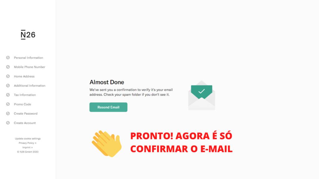 tela mostrando o passo 15 de como abrir conta no banco n26 portugal