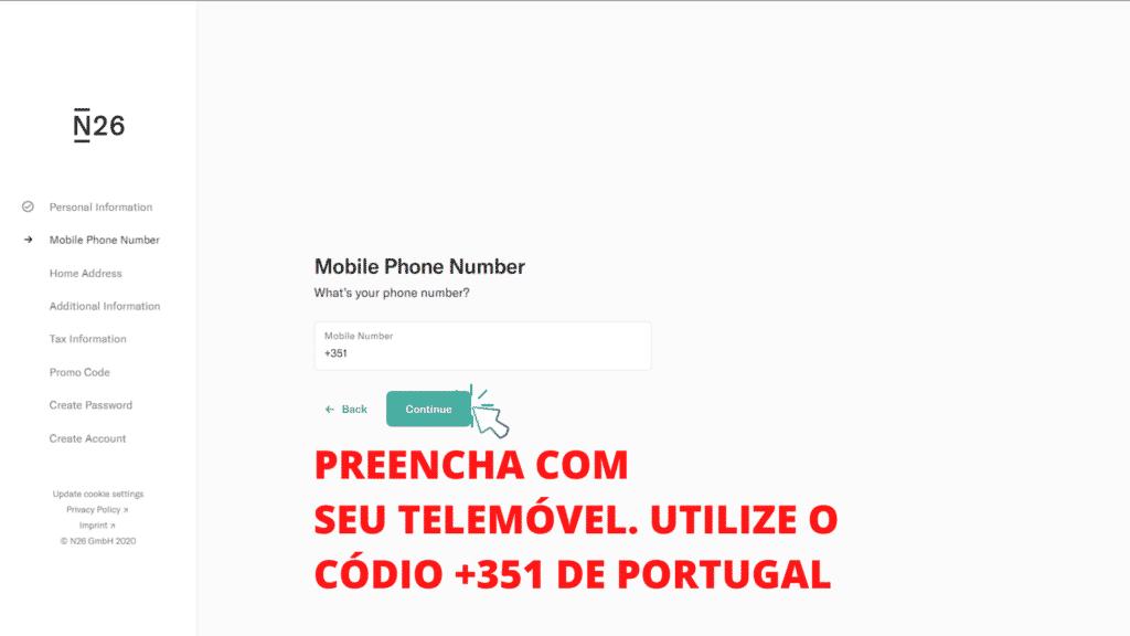 tela mostrando o passo 4 de como abrir conta no banco n26 portugal