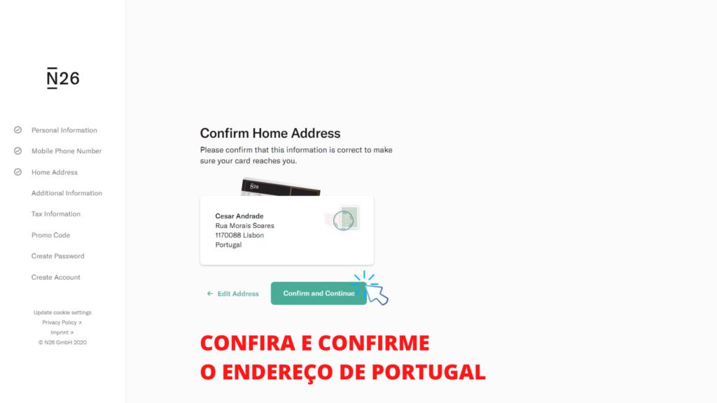 tela mostrando o passo 6 de como abrir conta no banco n26 portugal