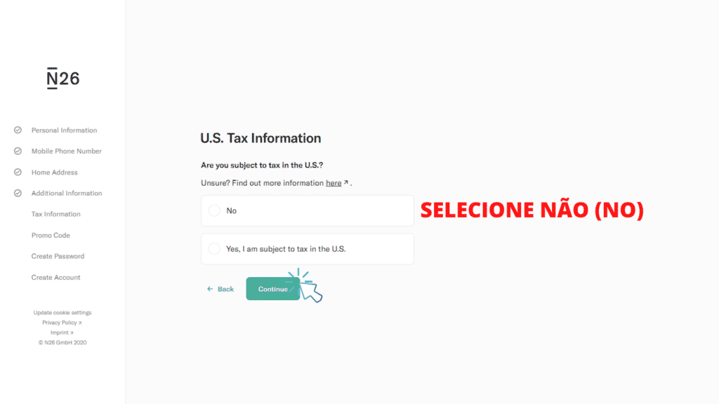 tela mostrando o passo 9 de como abrir conta no banco n26 portugal