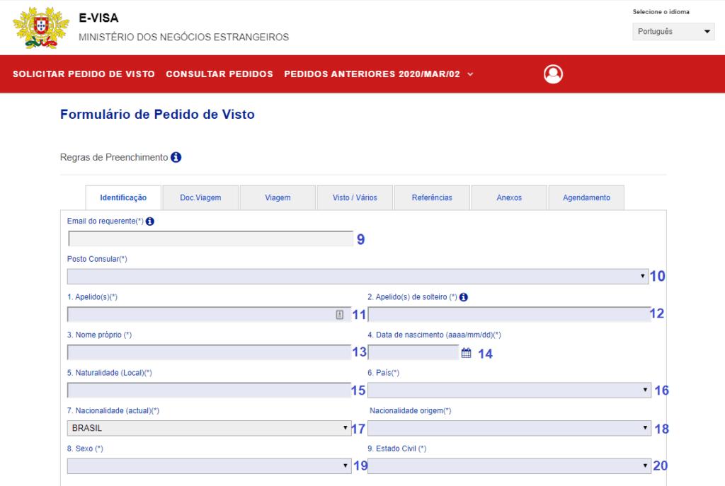 tela de identificação visto d7 portugal