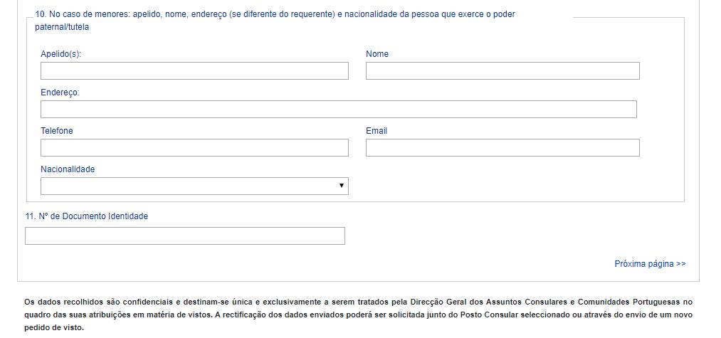tela de identificação de menores visto d7 portugal