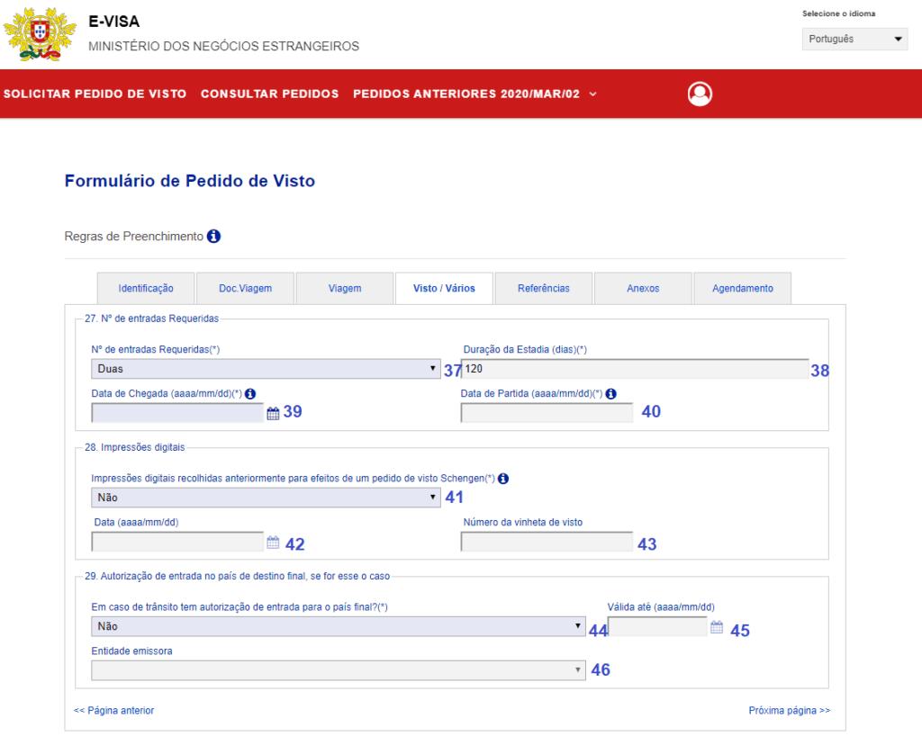 tela de informações adicionais sobre o visto d7 portugal