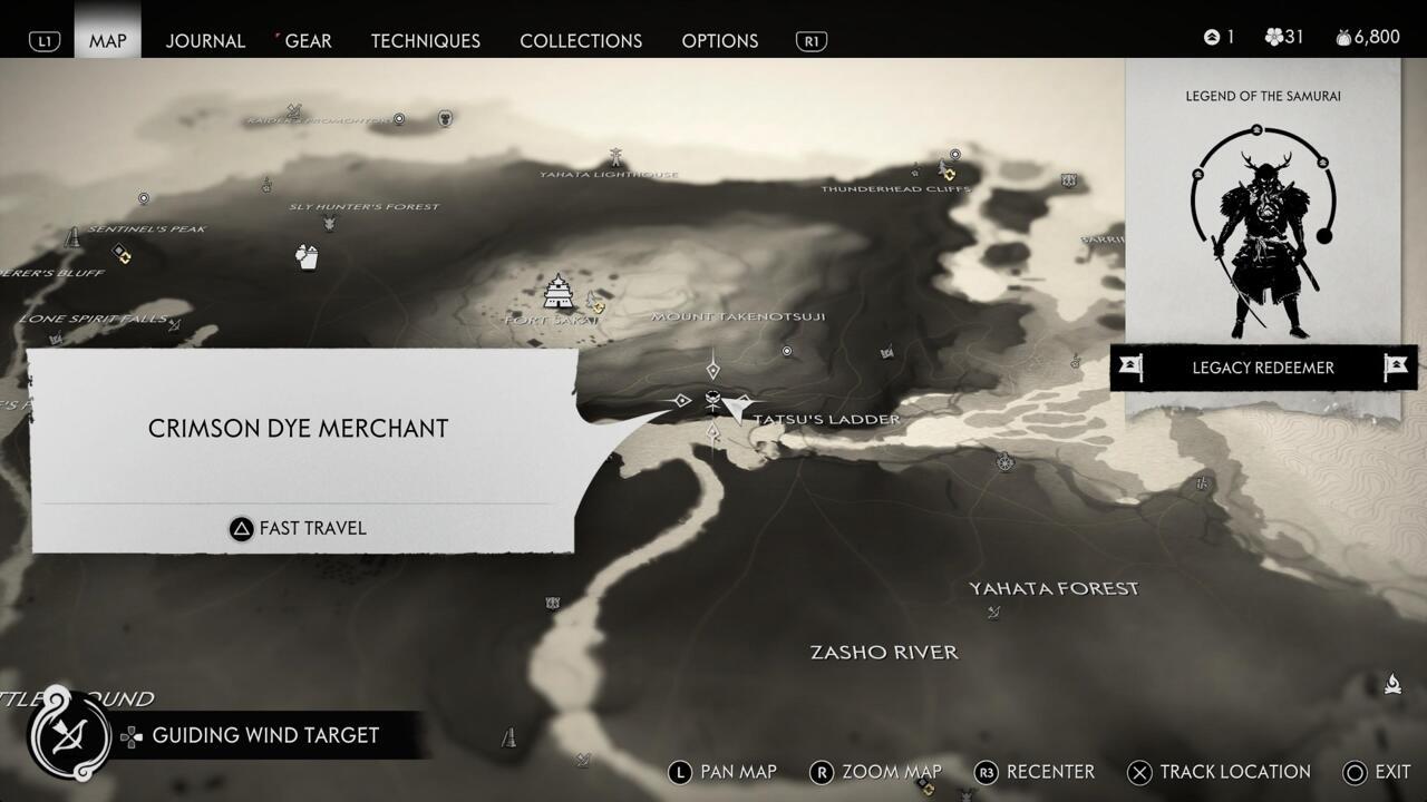 A localização da loja do Crimson Dye Merchant aparece em seu mapa depois de completar o torneio de duelo no Refúgio de Fune.
