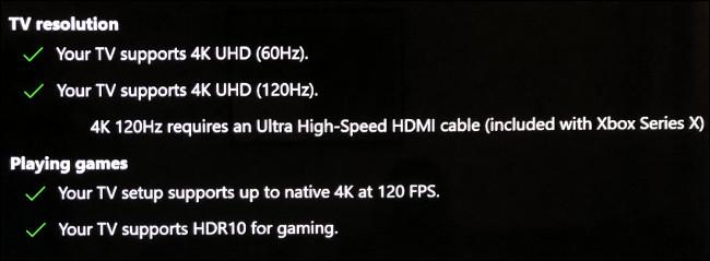 O Xbox Series X informa se sua TV oferece suporte a 120Hz.