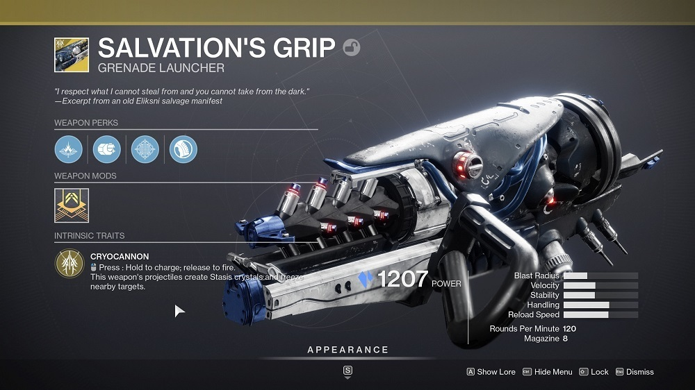 Salvation's Grip é uma arma Exotic Stasis que já está no jogo.  Stasis Legendaries chegará na próxima semana.