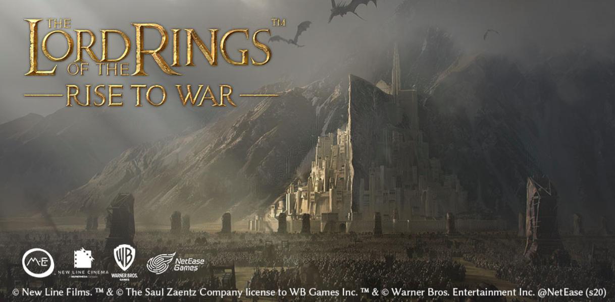 A arte principal de Rise to War mostra a cidade de Minas Tirith sob cerco pelas forças de Sauron.