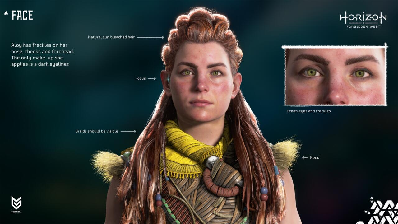 A Guerrilla lançou novas imagens do modelo do personagem de Aloy em Forbidden West