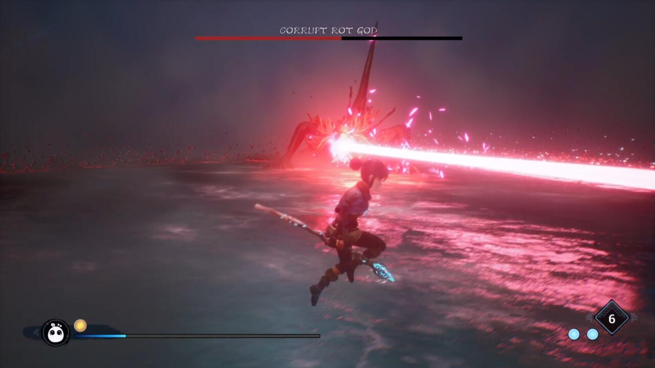 Você pode facilmente pular ou Spirit Dash por meio desse ataque de raio laser, mas certifique-se de estar atento porque ele bate forte.
