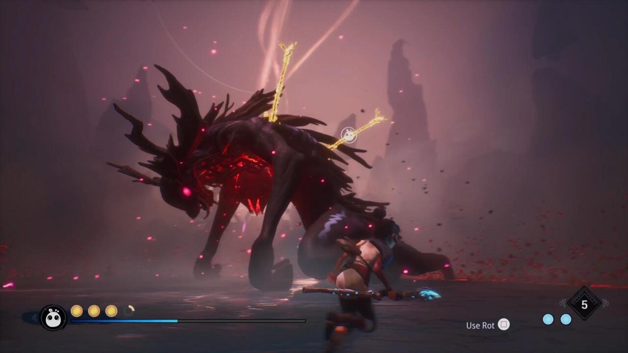 Na fase final, você precisará usar o Rot para puxar as lanças do chefe para causar danos e terminar a luta.