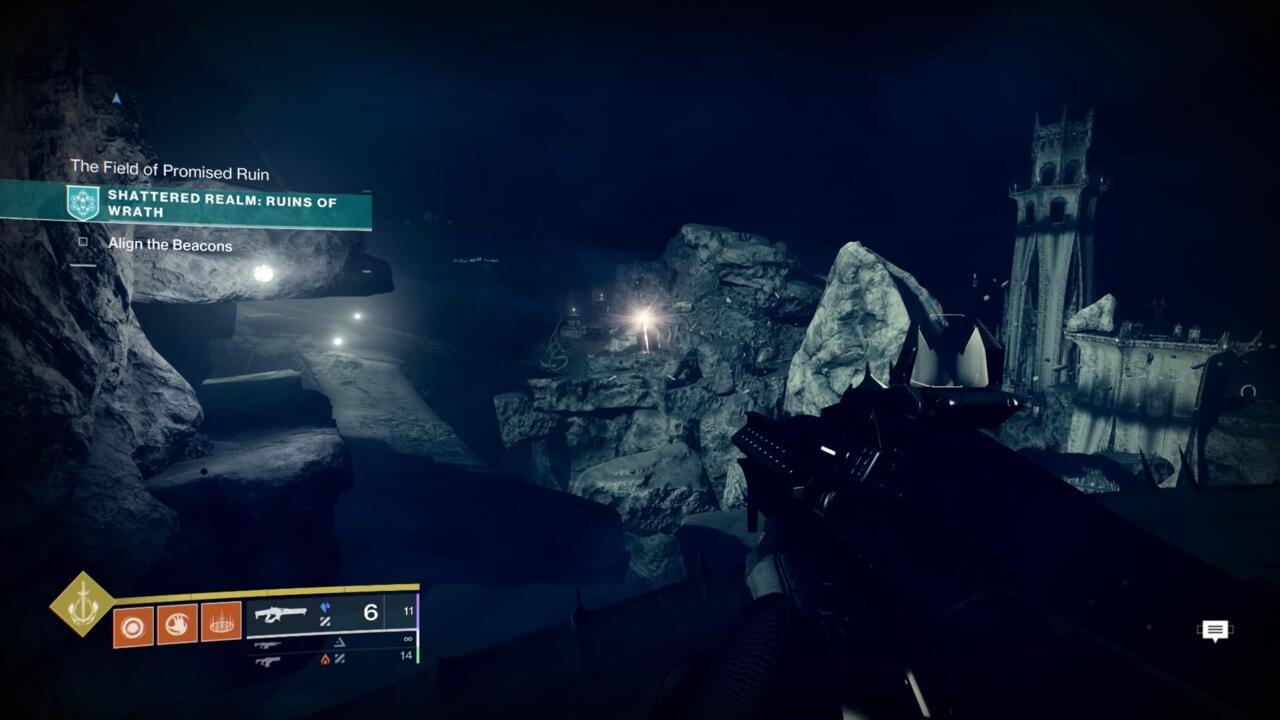 Depois de alinhar o segundo farol, você verá a torre que está procurando à distância, brilhando com Soulfire.