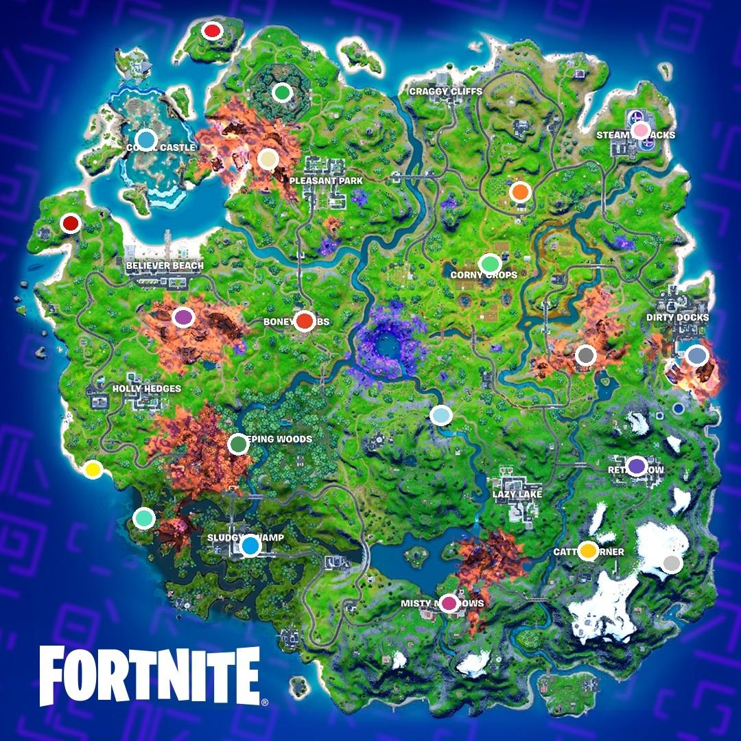 Todos os locais de Frascos Coloridos Fortnite
