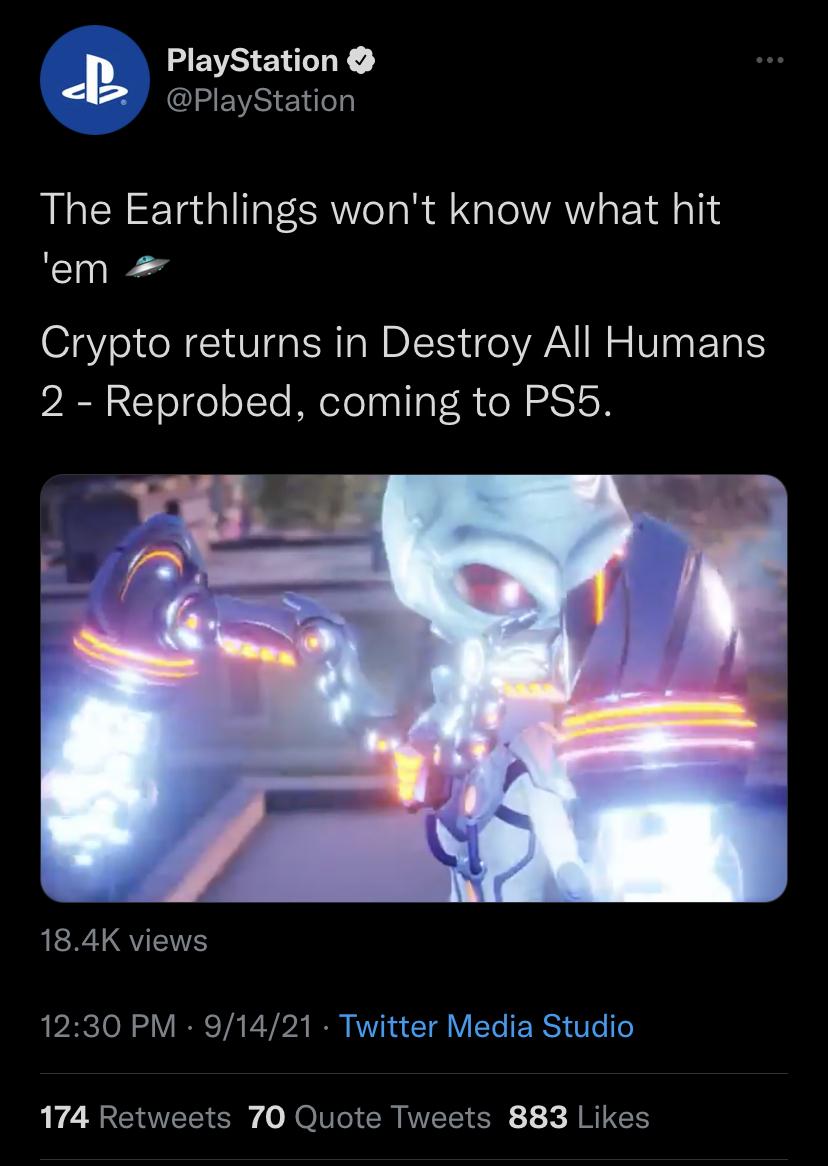 O tweet do PlayStation agora excluído anunciando Destroy All Humans 2: Reprobed