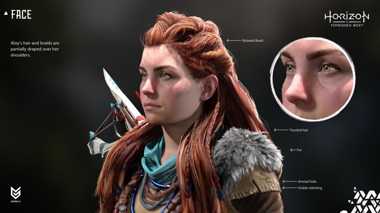 Uma olhada mais de perto nas melhorias feitas no modelo de personagem de Aloy no PS5