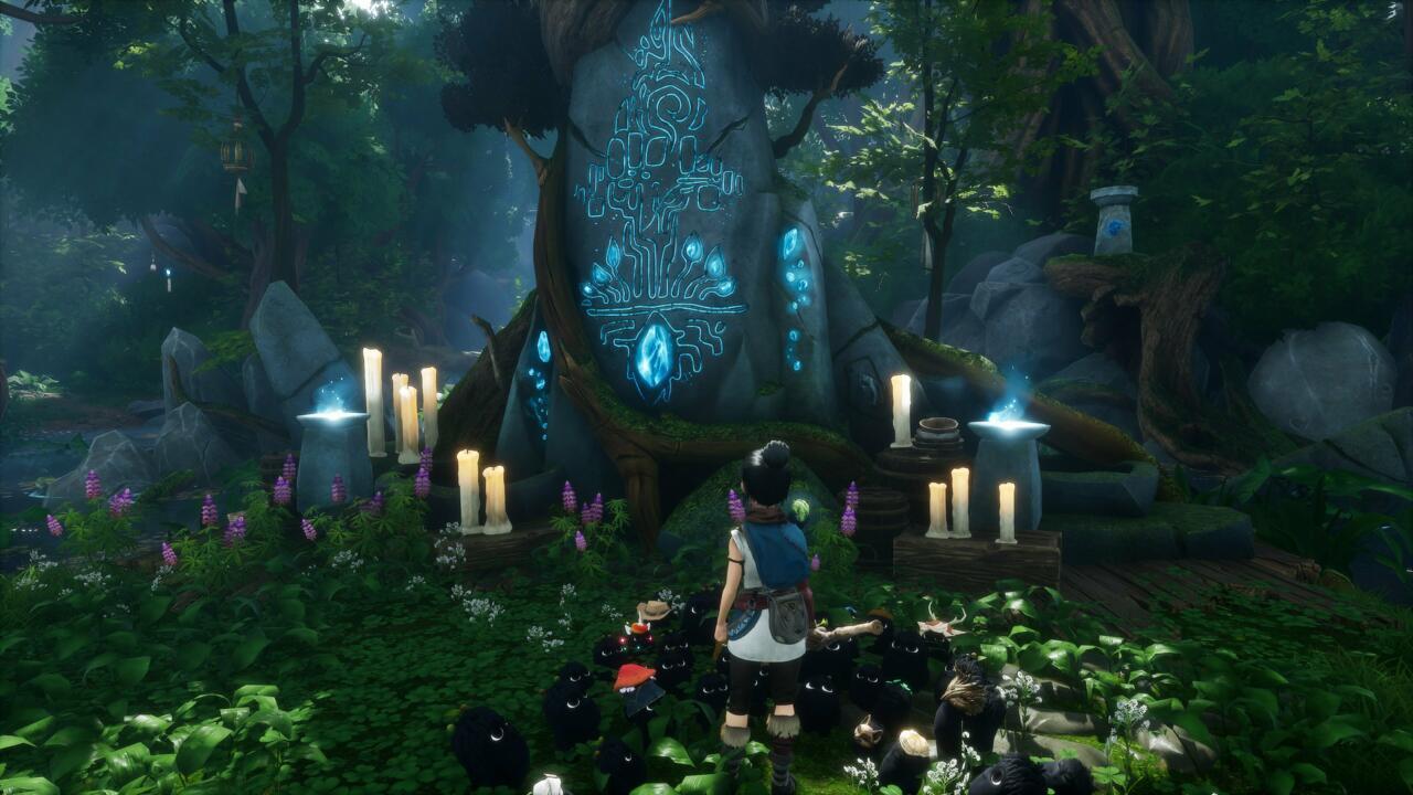 As velas no santuário estão dizendo a você em que ordem atirar as tochas ao redor de Kena.