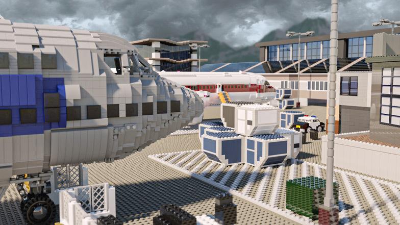 O terminal é feito de 18.043 tijolos e custa US $ 4.726 para ser construído.  Imagem: Diamond Lobby